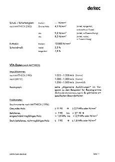 Fachbuch Baumdaten 2, Nadelbäume, Beispielseite für Daten zur Untersuchung und Pflege