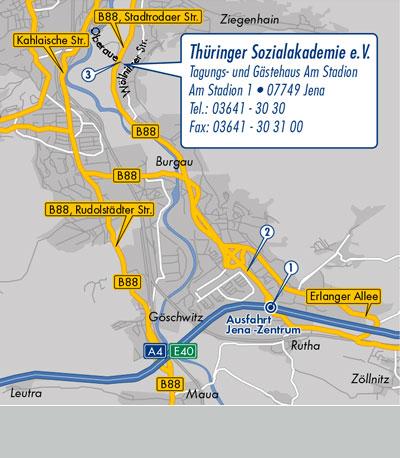 Anfahrtsroute zur Thüringer Sozialakademie in Jena